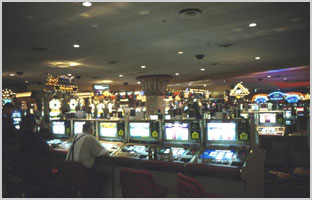 A bank of casino slots